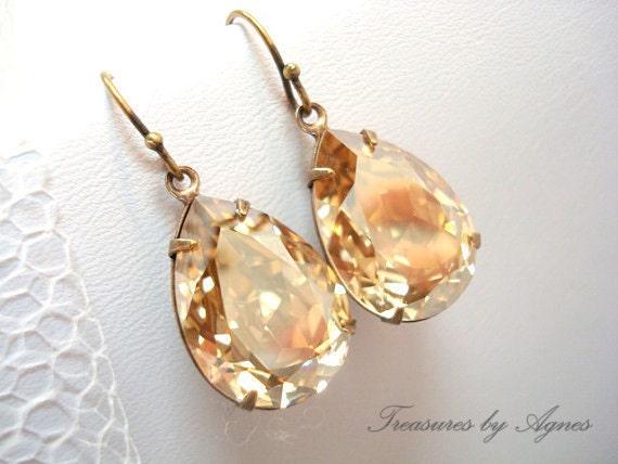 Bridal earrings, Swarovski earrings, Bridal jewelry, Wedding earrings, Champagne crystal earrings, Wedding jewelry, Teardrop earrings