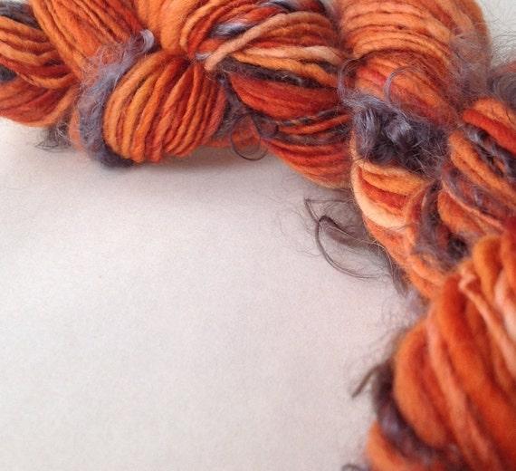 Burning Sensation - handspun organic natural novelty yarn