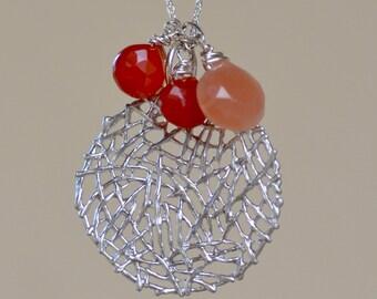Pink Moonstone  - Tangerine Chalcedony  Necklace. SALE. Gemstone Charm Necklace. Silver Minimalist Necklace. June Birthstone.