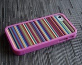 Multicolored Stripes Custom Insert with Hot Pink Bumper Case for iPhone 4 And 4s