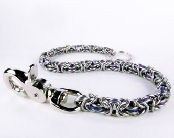 Purple Chainmaille - Wallet Chain - Graduated Byzantine (Thick to Thin)