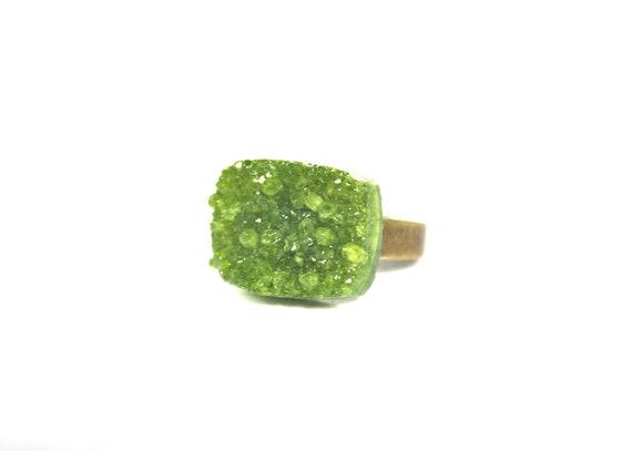 Druzy Ring - Olive (v3)