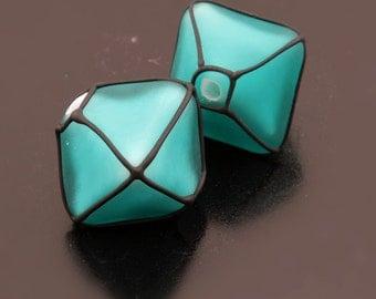 Lampwork Beads Handmade Glass Etched Teal Blue Green Crystals Black Pair Heather Behrendt (1567) BHV SRA LETeam