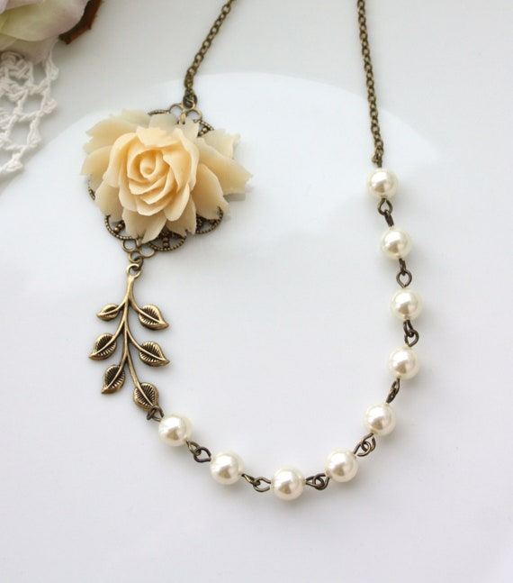 Wedding Necklace, Cream Rose Flower Ivory Pearls, Brass Leaf Necklace. Wedding Bridal Vintage Inspired Bridesmaids Gifts. Maid of Honor Gift