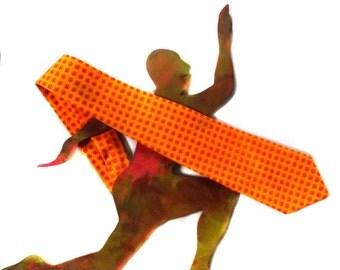 80s Necktie - Mens Vintage Wide Tie - Marigold Orange - Costume