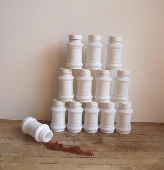 60s Spice Jars. 12 Vintage Milk Glass Jars.