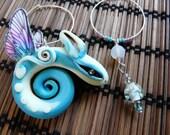Nightlight Whirr Fairy Dragon earrings asymmetrical and night glowing magic ear jewelry dragonfly wings