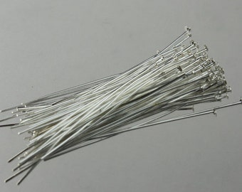 100 Sterling Silver plated FLAT headpins Head Pins T Pins - 2 inch(50mm) 22Gauge 22G - from California USA