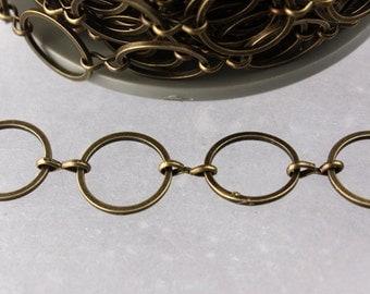 5 ft.  Brass BIG circle Quick Links Chain - 12mm Antique Brass