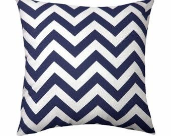 Zig Zag Navy Blue Chevron Decorative Pillow Free Shipping