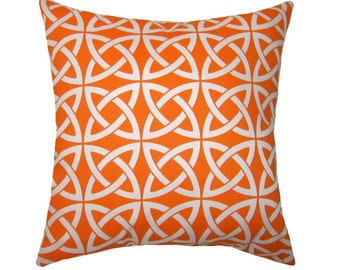 Modern Orange Throw Pillow - Linked In Tangerine Square or Lumbar Outdoor Decorative Pillow Free Shipping
