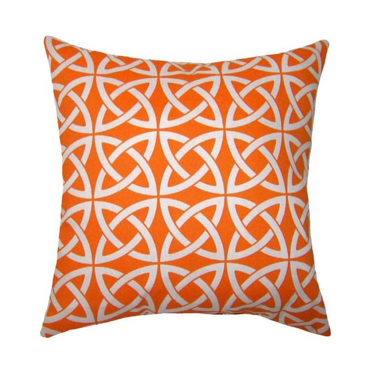 Modern Orange Throw Pillow Linked In Tangerine Square or