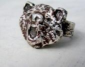 Sterling Silver Roaring Bear Ring. OOAK Ring. Mens Bear Ring. Oxidized Ring