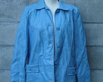 Blue Leather Jacket Vintage 1960s Baby Blue Leather Coat Jacket
