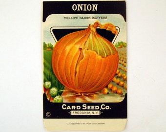 Paper Seed Packet Vintage 1920s Unused Paper Seed Packet Onion
