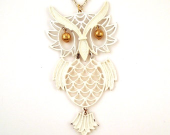 Vintage 1970s White Articulated Owl Necklace
