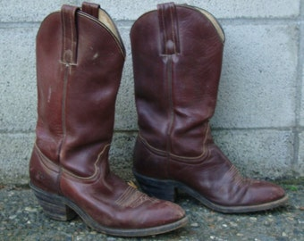 Frye Cowboy Boots Distressed Vintage 1970s Rich Deep Burgundy Brown Men's size 8 1/2