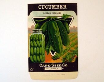 Vintage 1920s Unused Paper Seed Packet Cucumber