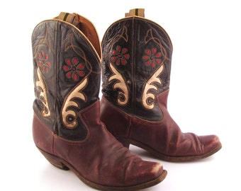 Inlay Cowboy Boots Vintage 1940s  Burgundy Brown and Black 40s Leather men's 9