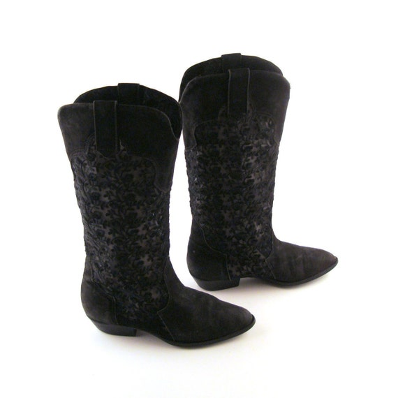 Reserved Leather and Lace Boots Vintage 1980s Flat  Sbicca Women's size 7