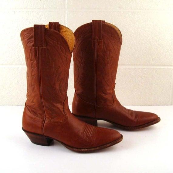 Vintage 1980s Men's Carmel Brown Nocona Cowboy Leather Boots 7 1/2