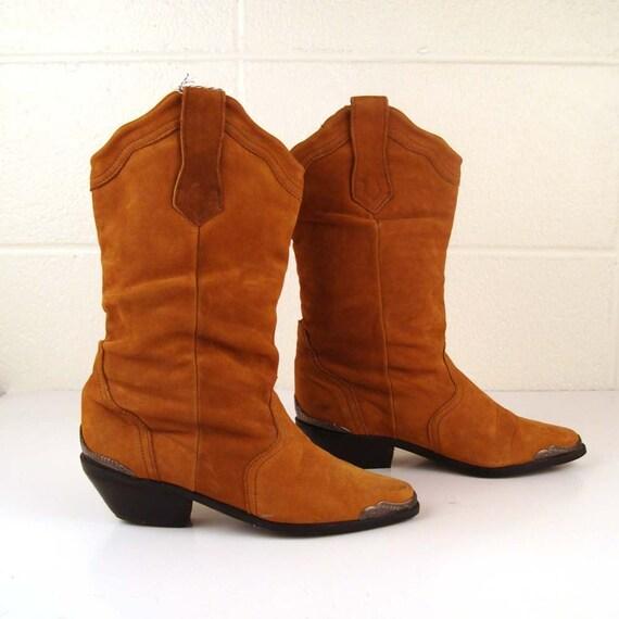 Vintage 1980s Butterscotch Carmel Nubuck Leather Slouch Boots Women's 6 1/2 RR038
