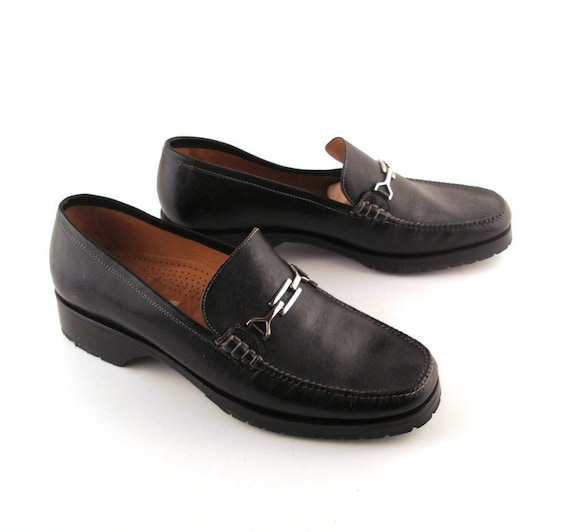 Cole Haan Loafers Black Vintage 1980s Leather Shoes Women's size 10 1/2 B