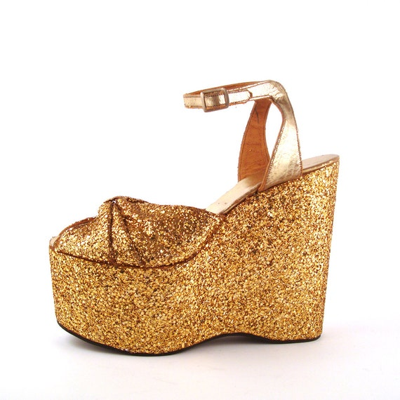 glitter platform shoes vintage 1970s sandals gold seventies