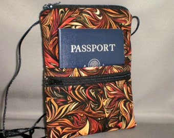 Passport Purse - Wallet on a String - Sling Bag - Autumn - Black, Rust, Gold, Brown
