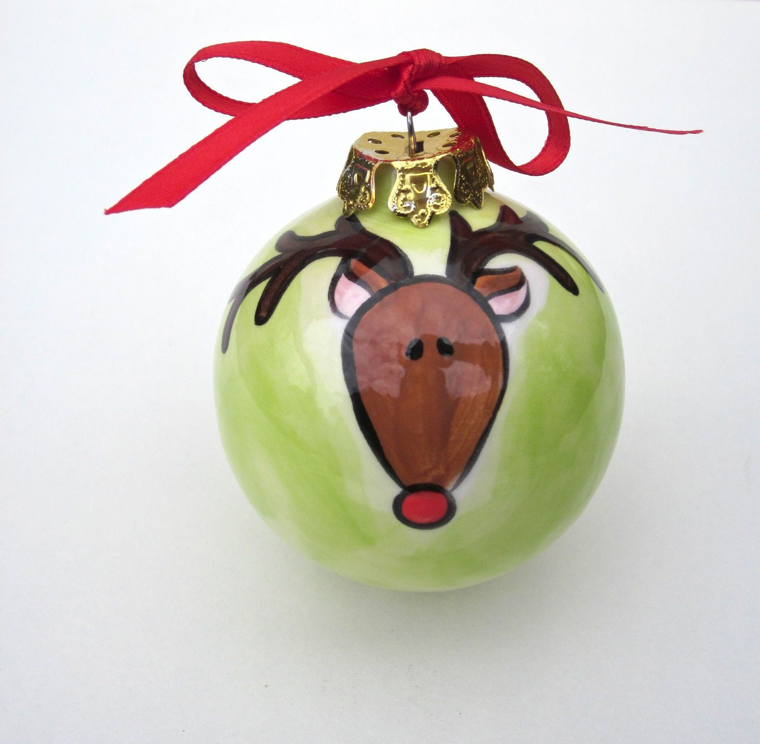 Hand Painted Personalized Ceramic Bulb Reindeer Christmas Ornament
