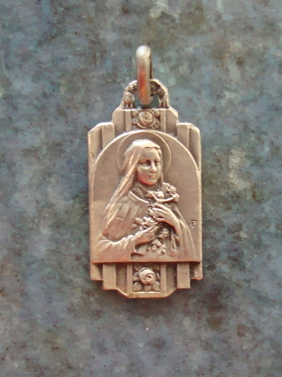 Art Deco French Antique Silver Vintage Saint Therese the Little Flower Catholic Medal Pendant