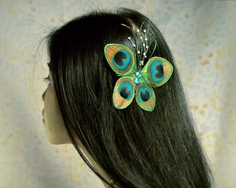 Peacock wedding feather butterfly hair clips butterfly wings bridal accessories peacock fascinators butterflies unique