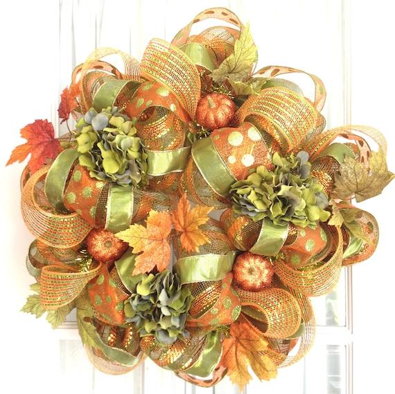 Deco Mesh FALL Wreath Orange Lime Hydrangeas Glitter Pumpkins Door Wreath