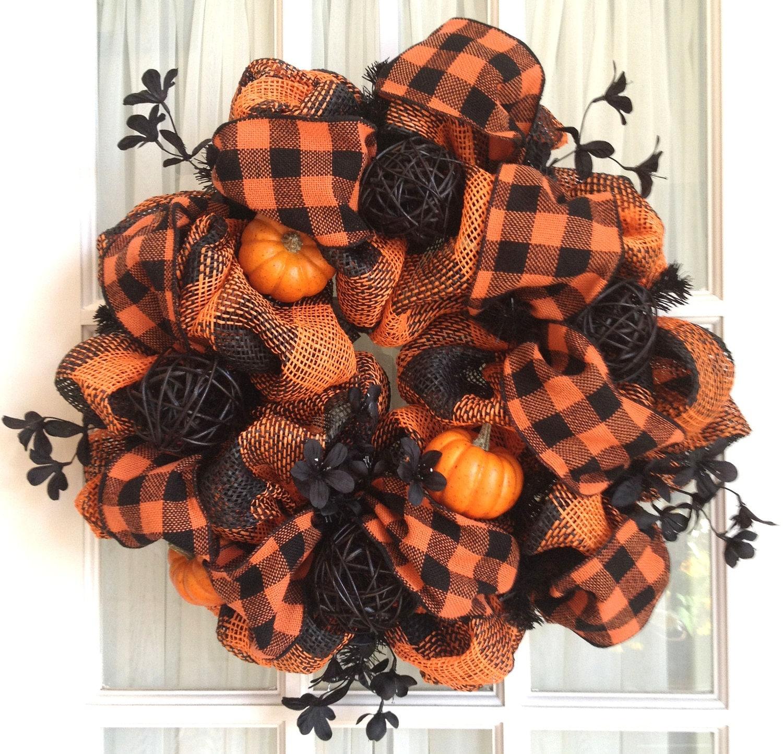 Natural Halloween Decorations: Burlap Mesh Natural HALLOWEEN Wreath Black By