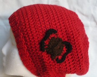 SALE, Red crochet slouchy tam beanie with crochet butterfly applique, ready to ship.