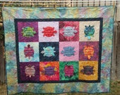 Baby or Toddler Patchwork Quilt - Turtle Dance 4