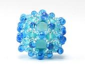 Handcrafted Ocean Sapphire Dewdrop Beaded Bead