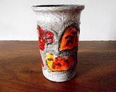 Vintage Strehla East German Pottery Vase, Orange, Red, Gray