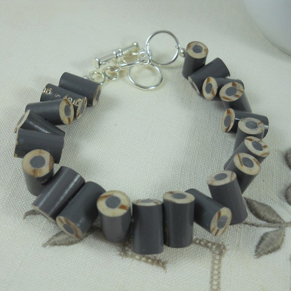 Colored Pencil, Beaded Bracelet, Jewelry, Charm Bracelet, Teacher Artist Creative Gift, Adjustable, Toggle, Grey, Slate, Gray