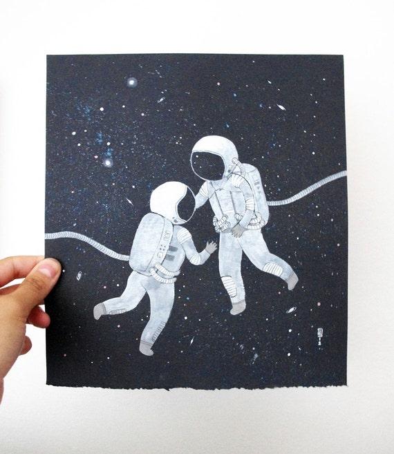 Chance Encounter original gouache painting on beautiful handmade paper