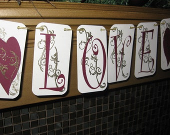 Love Valentine's Day Banner - Wedding Bridal Banner - Love Garland - Love Buntingm- QueenBeeInspirations