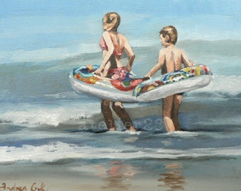 children playing in the sea with inflatable rings giclee art print