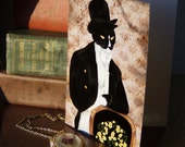 Love Mr Darcy Cat Greeting Card 5x7, Tuxedo Cat Elegantly Dressed in Regency Clothes