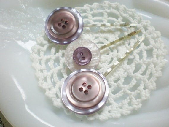 Hair Accessories Bobby Pins Pearly Purple Buttons Trio