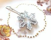 White Enamel Inlaid Snowflake Zipper Pull Purse Charm