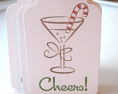 Holiday Cheer, Cocktail Candy Cane Christmas Gift Tags