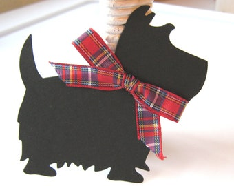 Black Scottie Dog Gift Tags, Scottie Dog Gift Embellishment