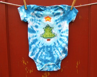 Christmas Tree Tie Dye Baby Onesie - Blue Frost - Sizes newborn, 6, 12, 18, 24 month - Made To Order