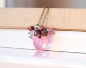 Pink Apple cluster necklace in vintage gold chain