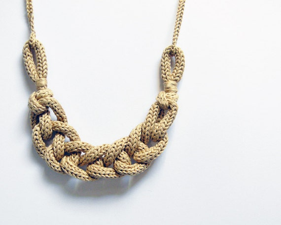 Statement necklace, chain knit necklace. Custom colors. Cotton necklace. Yarn jewelry. Nautical necklace. Fiber necklace.